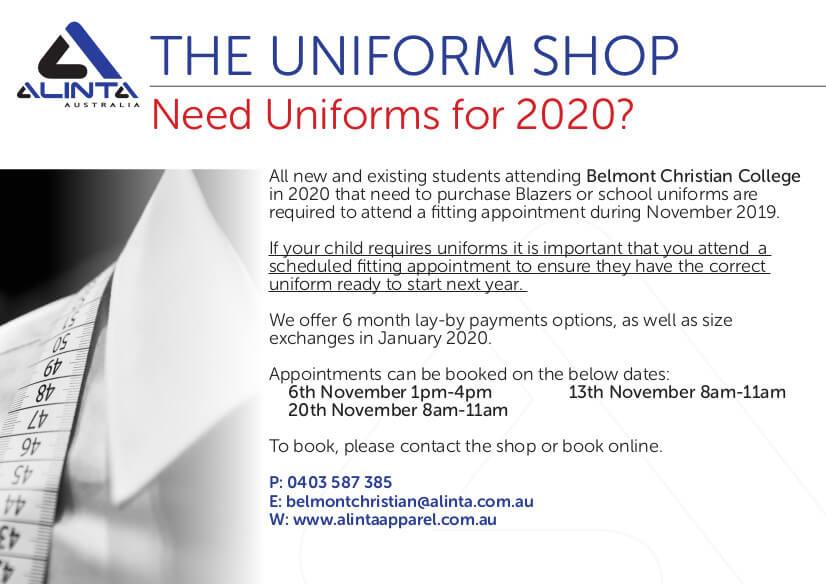 Uniform Shop News, BCC fitting notice Nov 19