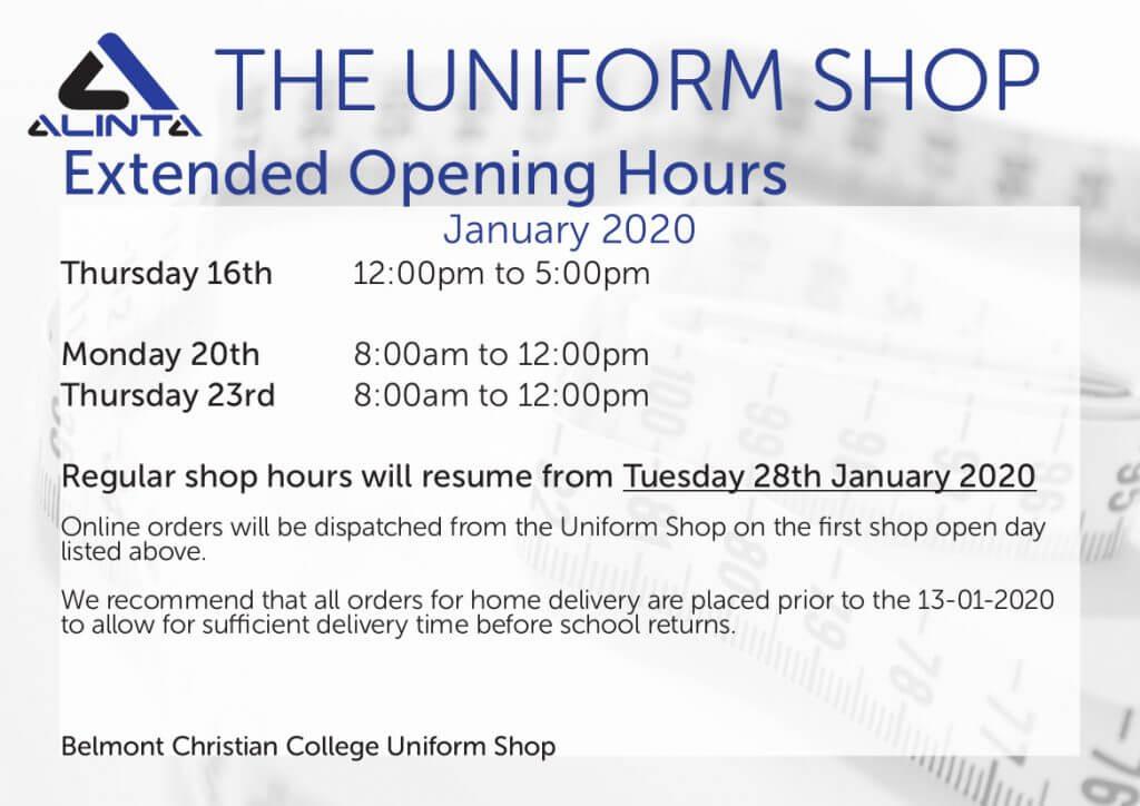 Uniform Shop News, BCC January Hours 2020