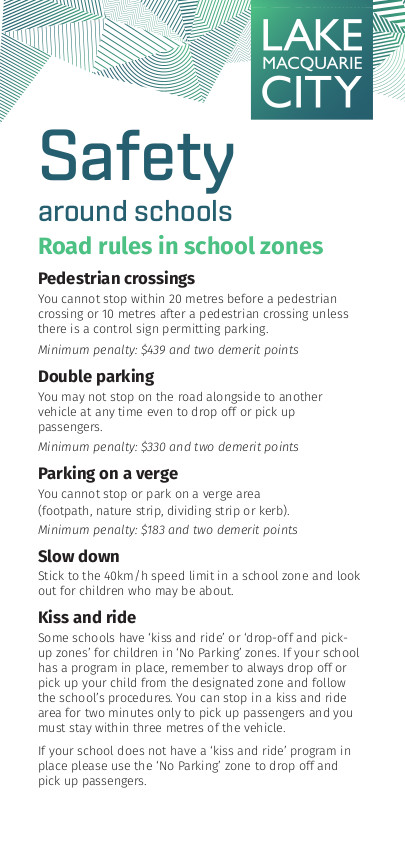 Getting to and from School, LMCC Safety around Schools Flyer