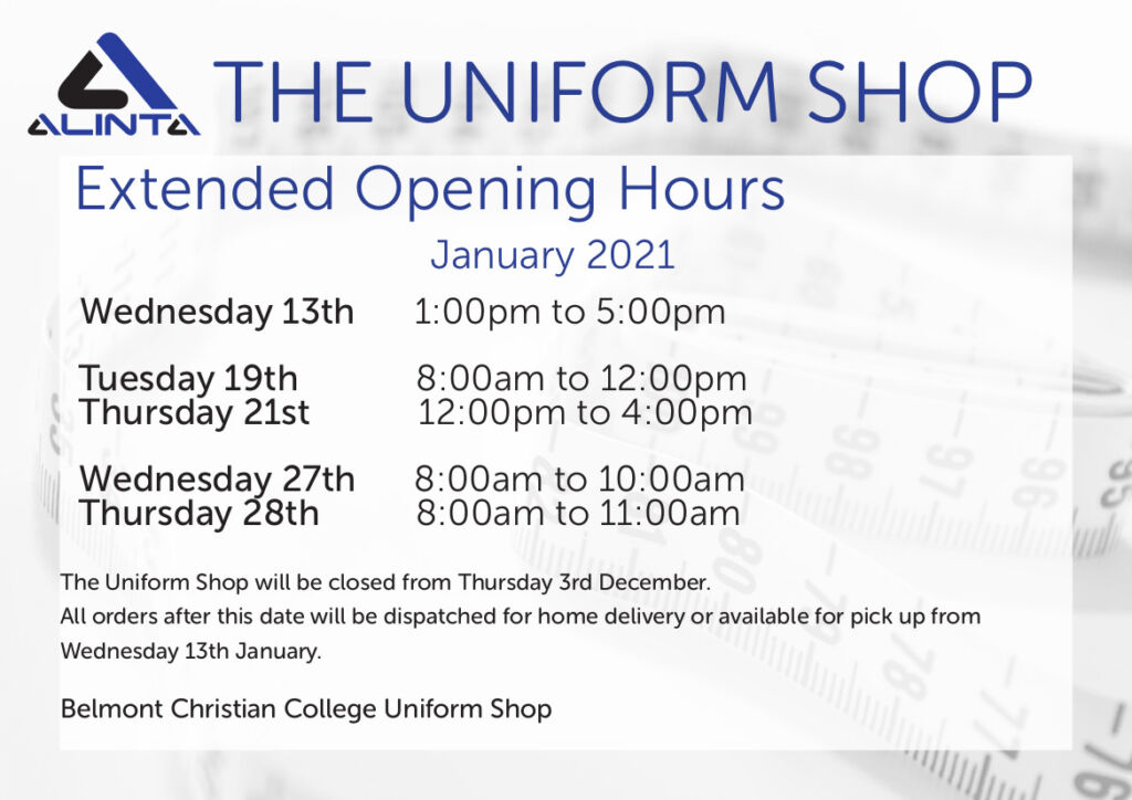 Uniform Shop News, BCC January Hours 2021