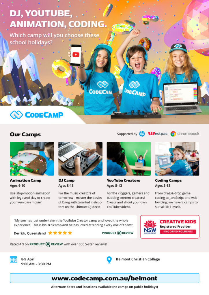 School Holiday Virtual Code Camp, flyer Belmont Christian College Camps Autumn 2021 camp digital