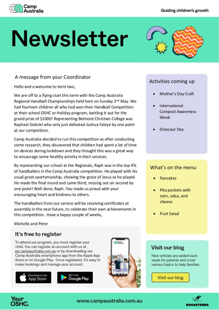 OSHC News, Term 2 Week 3 Newsletter Template