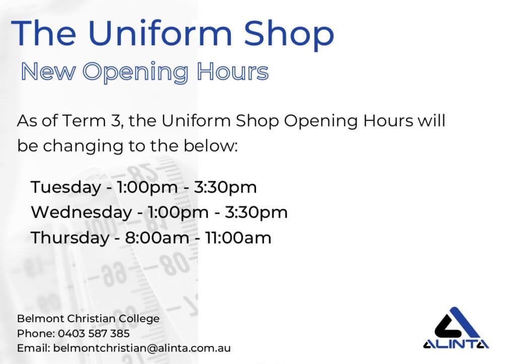 Uniform Shop News, BCC Uniform Shop Hours